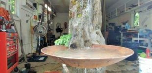 Large Basalt Gurgler Water Feature Corten Steel Bowl 2